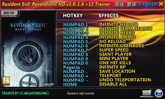 Resident Evil: Revelations HD 1.0-Update 4 +12 Trainer [FliNG]