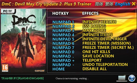 DmC: Devil May Cry 1.2 +9 Trainer [FliNG]