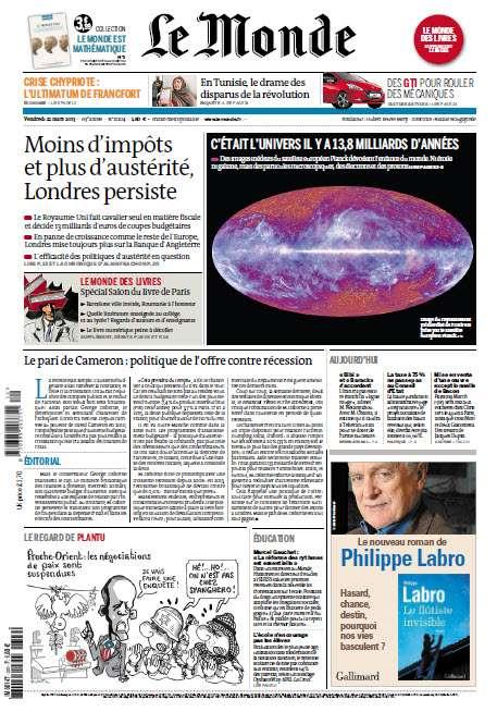 Le Monde Vendredi 22 Mars 2013